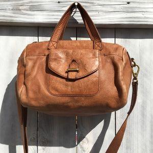 Fossil Leather Baguette Crossbody Bag, Medium